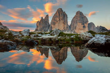 Tre Cime di Lavaredo at beautiful sunrise, Italy, Europe