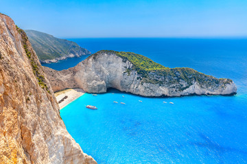 Famous Navagio beach with shipwreck view, Zakynthos, Greece