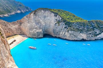 Famous Navagio beach with shipwreck view, Zakynthos, Greece