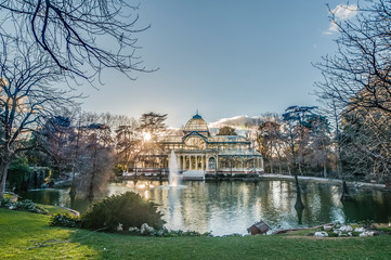 Crystal Palace on Retiro Park in Madrid, Spain.