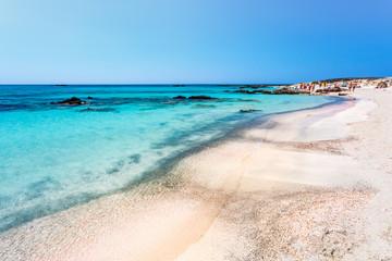 People sunbathing on the beach of Elafonissi. Crete. Greece.