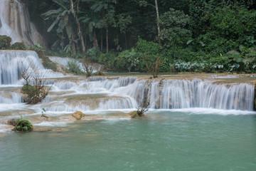 Landscape of Kuang Si Falls - Waterfalls at Luang Prabang, Laos Asia