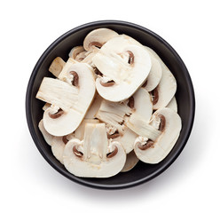 Bowl of sliced fresh mushroom from above