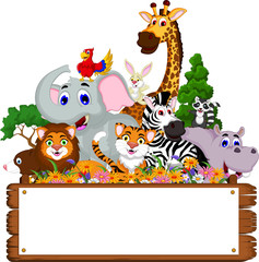 funny animal cartoon collection with blank board