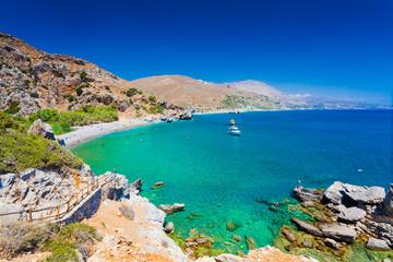 Panorama of Preveli beach at Libyan sea  southern Crete, Greece