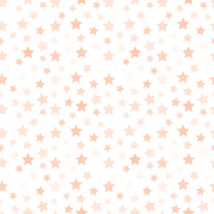 Isolated pale pink color stars on the white background pattern. Decorative kids bedroom wallpaper. Sky element backdrop. Festive wrapping paper. Vector illustration.