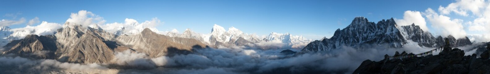 panorama Mount Everest, Lhotse, Makalu i Cho Oyu