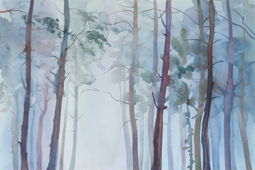 Foggy forest watercolor background