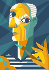 cubist portrait painting cartoon