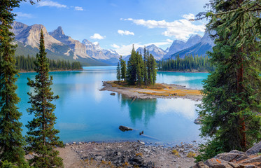 Spirit Island at the Maligne Lake, Alberta, Canada
