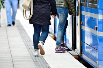 People entering tram