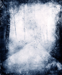 Abstract Blue Grunge Background With Trees And Path