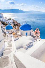 White blue architecture of Oia village on Santorini island, Greece