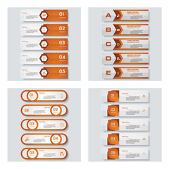 Collection of 4 orange color template/graphic or website layout. Vector Background. For your idea and presentation.