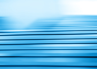 Horizontal motion blur blue stairs background