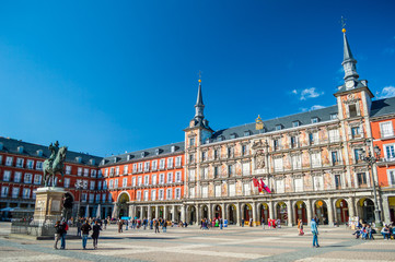 Felipe III statue and Casa de la Panaderia on Plaza Mayor in Madrid, Spain
