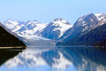 Boat sailing past Alaskan Glacier Landscape