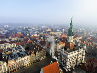 Town Hall (ratusz)  and old market square in Poznan, Poland. Aerial view