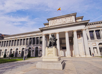 Spain, Madrid, View of the Diego Velazquez Statue in front of the Prado Museum.