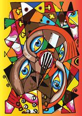 4 eyes cubism