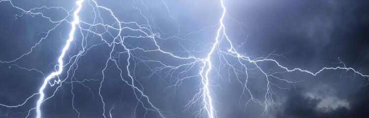 Thunder, lightnings and rain on stormy summer night