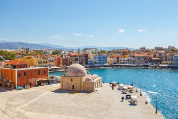View of the old port of Chania on Crete, Greece
