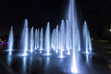 Colorfully lit fountain