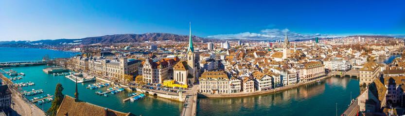 Historic Zürich center with famous Fraumünster Church, Limmat river and Zürichsee, Switzerland