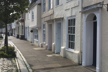 historic picturesque terrace street of English Houses in Faversham Kent