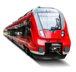 Nowożytny wysoki prędkość pociąg odizolowywający na bielu
