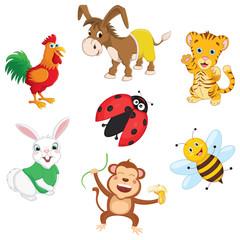 Vector Illustration Of Cartoon Animals, ladybug, rabbit, monkey, bee