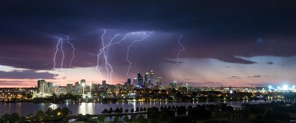 Stunning multiple lightning strikes over Perth CBD
