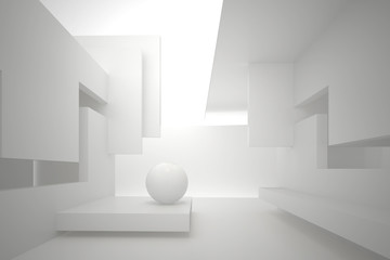 3d illustration. White interior of a non-existent building. Walls with rectangular holes, multilevel ceiling, white sphere on the floor. Light in perspective. Architectural minimal background, render.
