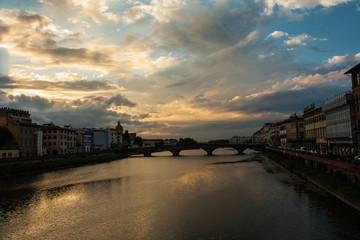 sunset view of Ponte Vecchio
