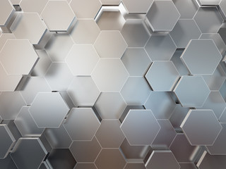 Abstrakcjonistyczny 3d-renderingu tło futurystyczna powierzchnia z sześciokątami. Ilustracja 3D