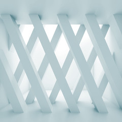 Abstract empty hall, partition made of girders 3d