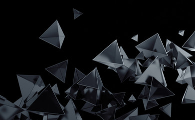 Abstract 3d rendering of chaotic low poly shapes. Flying polygonal pyramids in empty space. Futuristic background. Poster design.
