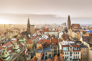 Panorama of Wroclaw Old Town at sunset, Poland
