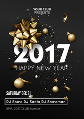Happy New Year 2017 greeting card or poster template flyer  invitation design.