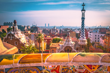 Colorido park Guell de Barcelona.
