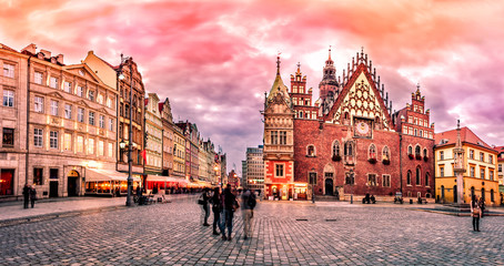Wroclaw Market Square with Town Hall during sunset evening, Pola