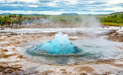 Strokkur geyser about to erupt