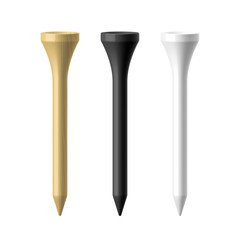 Woooden, black and white golf tees