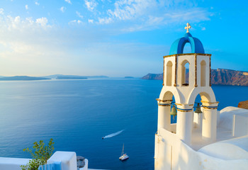 Church in Oia with traditional belfry, Santorini, Greece