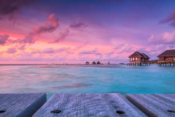Wonderful twilight time at tropical beach resort in Maldives