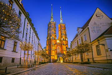 The Cathedral of St. John the Baptist on Tumski island at night in Wroclaw, Poland