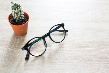 Glasses on wooden table