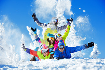 Group happy friends ski resort