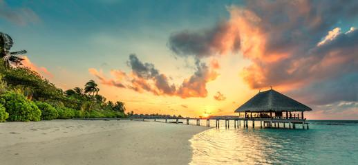 Panorama of small island resort in Maldives, Indian Ocean
