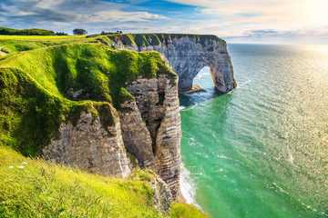 Amazing natural rock arch wonder, Etretat, Normandy, France